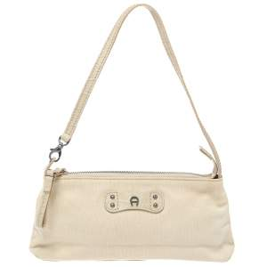 Aigner Vanilla  Croc Embossed Leather Baguette Shoulder Bag
