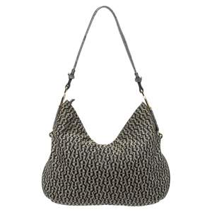 Aigner Grey/Black Signature Canvas and Leather Hobo