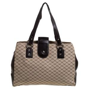 Aigner Beige/Brown Monogram Canvas and Leather Middle Zip Tote