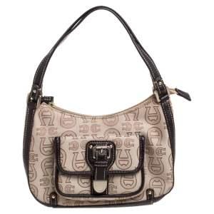 Aigner Monogram Canvas And Leather Front Pocket Baguette Shoulder Bag