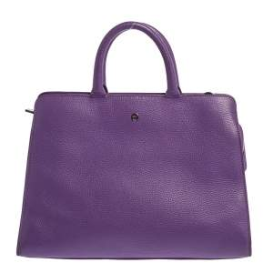 Aigner Purple Leather Cybill Tote