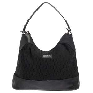 Aigner Black Signature Canvas and Lizard Embossed Leather Hobo