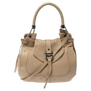 Aigner Cream Leather Logo Buckle Flap Top Handle Bag