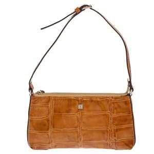 Aigner Tan Croc Embossed Patent Leather Baguette Shoulder Bag