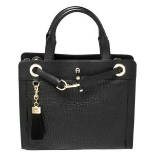 Aigner Black Pebbled Leather Cavallina Tote