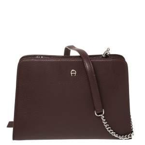 Aigner Burgundy Grained Leather Chain Shoulder Bag