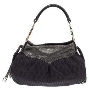 حقيبة يد هوبو شعار جلد نوبوك لامعة وكانفاس شهير سوداء