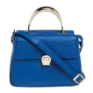 Aigner Blue Embossed Leather Genoveva Top Handle Bag