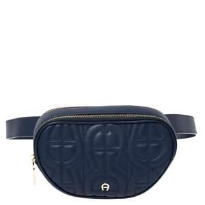 Aigner Deep Blue Leather Diadora Belt Bag