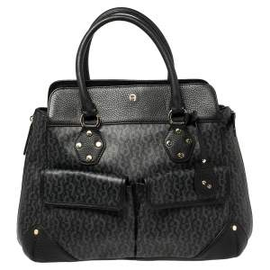 Aigner Black/Grey Signature Coated Canvas and Leather Satchel