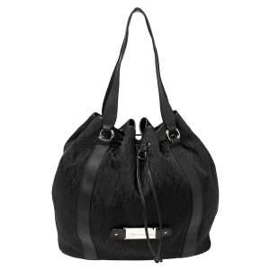 حقيبة يد إيغنر جلد وكانفاس شهير سوداء