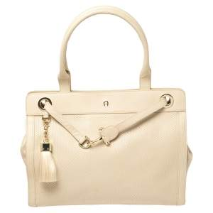 Aigner Beige Leather Woven Detail Cavallina Top Handle Bag