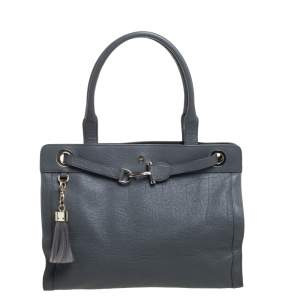Aigner Grey Leather Cavallina Tote