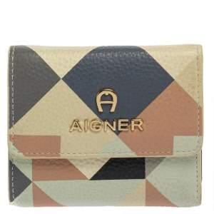 Aigner Multicolor Diamond Print Leather Trifold Wallet
