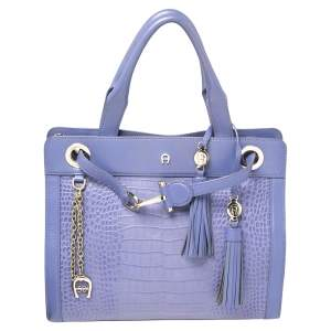 Aigner Lavender Crocodile Embossed Leather Limited Edition Cavallina Tote