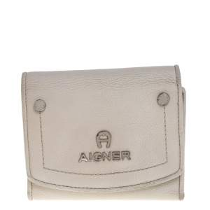 Aigner Grey Leather Trifold Wallet