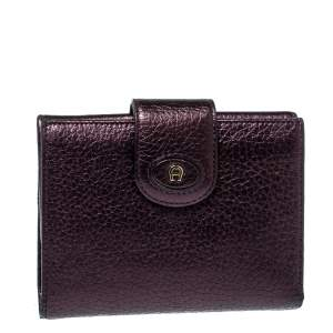 Aigner Metallic Purple Leather Compact Wallet