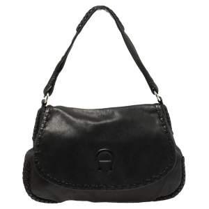 حقيبة هوبو إيغنر قلاب مضفر جلد سوداء