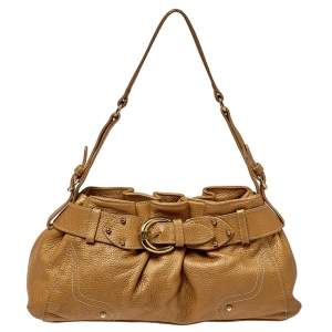 Aigner Metallic Beige Pleated Leather Satchel
