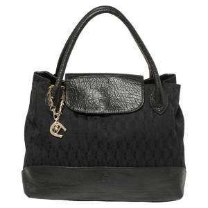 Aigner Black Signature Canvas and Leather Charm Tote