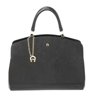 Aigner Black Leather Logo Charm Satchel