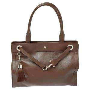 Aigner Brown Leather Cavallina Tote