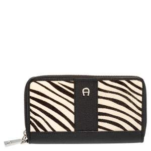 Aigner Black/White Zebra Print Calf Hair and Leather Zip Around Wallet