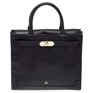Aigner Black Leather Turnlock Tote