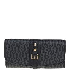 Aigner Black Monogram Coated Canvas and Leather Buckle Flap Continental Wallet
