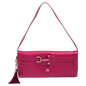 Aigner Pink Leather Cavallina Flap Clutch Bag