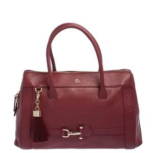 Aigner Burgundy Leather Cavallina Zip Satchel