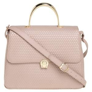 Aigner Nude Pink Embossed Leather Genoveva M Top Handle Bag