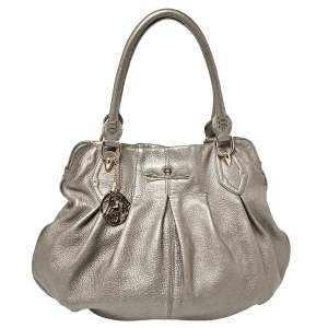 Aigner Metallic Grey Leather Satchel