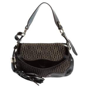 Aigner Brown Signature Canvas and Patent Leather Hobo
