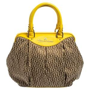 Aigner Beige/Yellow Leather and Canvas Satchel