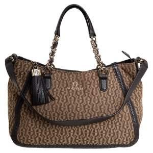 Aigner Brown/Beige Signature Canvas and Leather Tassel Shoulder Bag