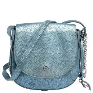 Aigner Metallic Blue Leather Flap Crossbody Bag
