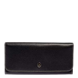 Aigner Black Leather Flap Continental Wallet