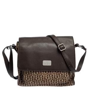 Aigner Beige/Brown Signature Canvas and Leather Flap Shoulder Bag