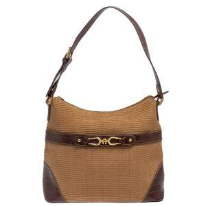 Aigner Brown/Beige Croc Embossed Leather and Raffia Logo Buckle Hobo