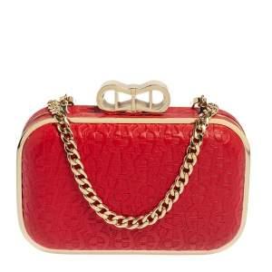 حقيبة كلتش أيغنر جلد منقوش بالشعار أحمر