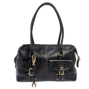 Aigner Black Leather Pocket Buckle Satchel