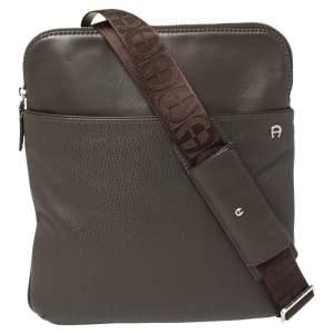 Aigner Dark Brown Monogram Embossed Leather Pocket Messenger Bag