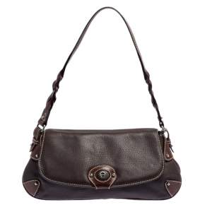 Aigner Brown Leather Flap Hobo