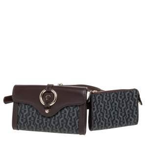 Aigner Brown/Black Signature Coated Canvas and Leather Fiorentina Belt Bag