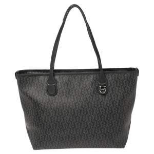 Aigner Black Signature Coated Canvas and Leather Tote