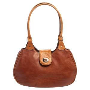 Aigner Brown Croc Embossed Leather and Leather Hobo