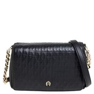 Aigner Black Leather Flap Crossbody Bag