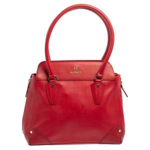 Aigner Red Leather Side Zip Satchel