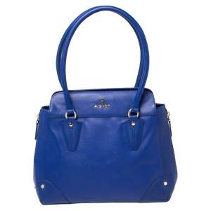 Aigner Blue Leather Side Zip Satchel